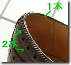 通常のフルブローグの履き口周り